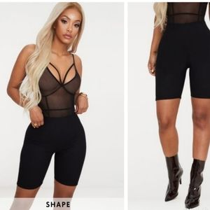 PLT Shape Black Ribbed lounge Bike Shorts